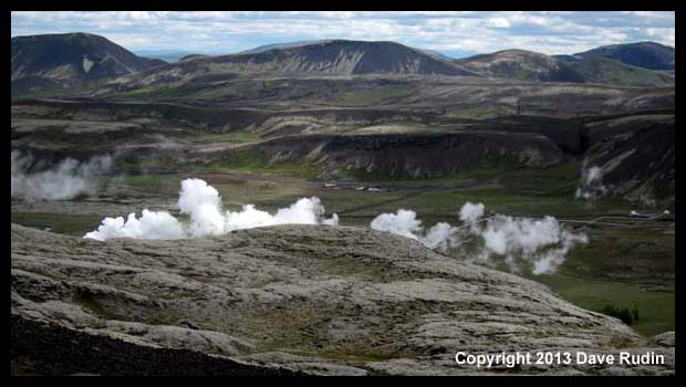 Steam rising from geothermal activity