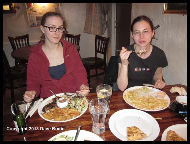 Brooke and Aubrey at dinner in Hveragerði