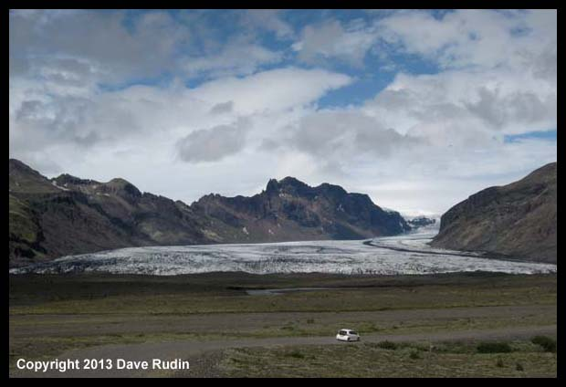 One of the glaciers reaching out from the mighty Vatnajokull ice cap