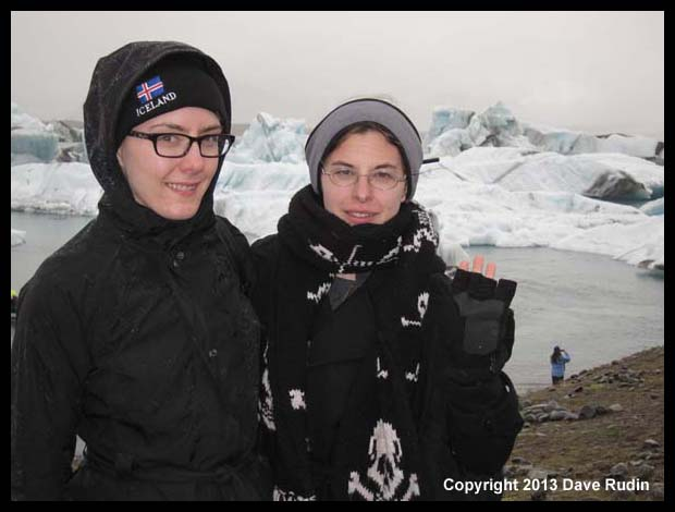 Brooke and Aubrey in the rain at Jokulsarlon