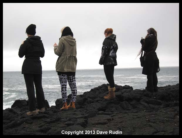 Four models look out to sea