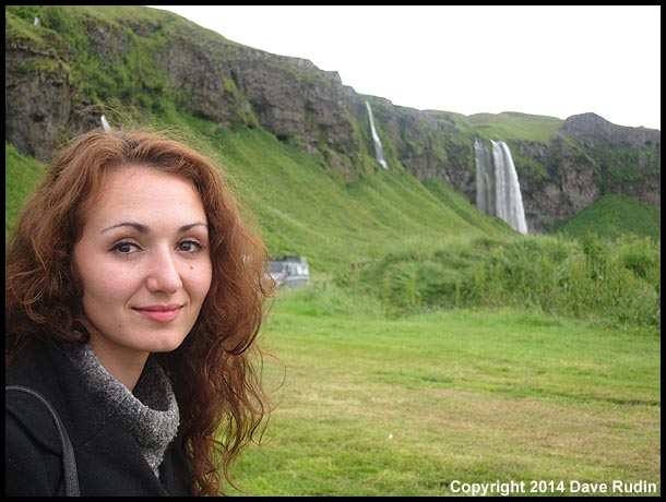 Zoe near the Seljalandfoss waterfall