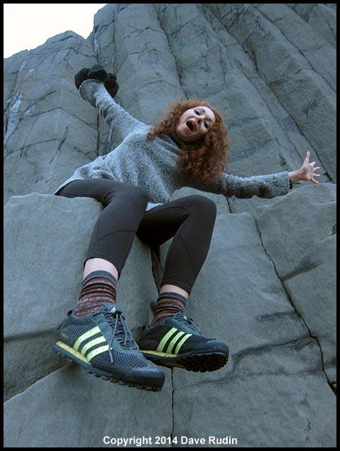Zoe on basalt near the town of Vik