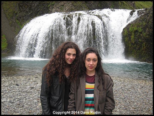 Nadine and Rebecca at Stjornufoss waterfall near Kirkjubæjarklaustur