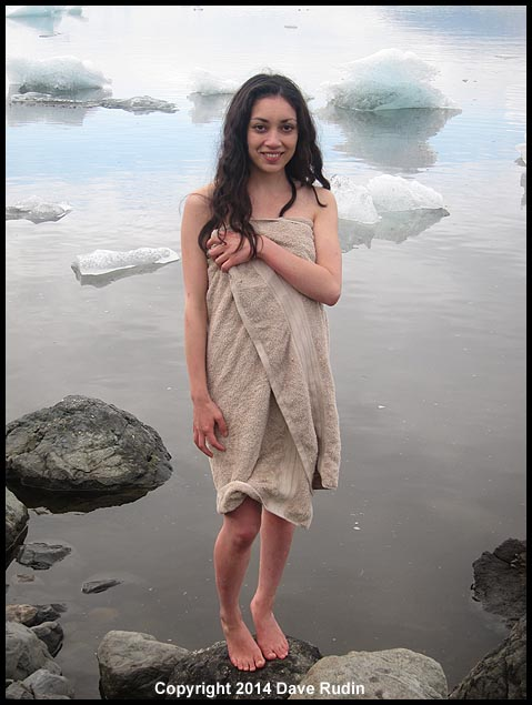 Rebecca decided to take a dip for art's sake into the freezing cold, iceberg filled waters of Jökulsárlón