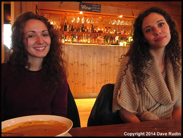 Zoe and Nadine at dinner in the town of Höfn