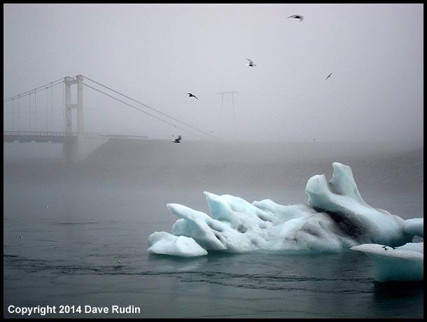 The Jökulsárlón glacier lagoon in the fog