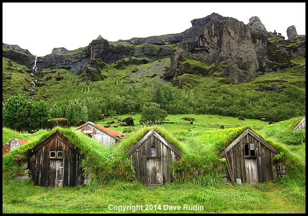 Old turf covered farm buildings at Núpsstaður, a UNESCO world heritage site