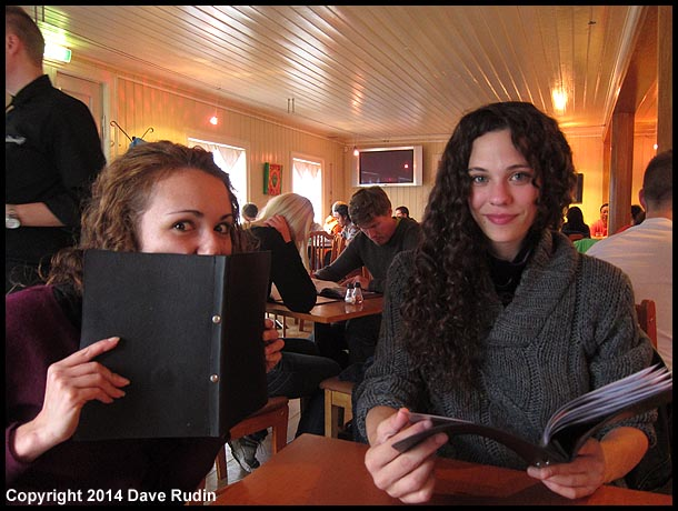 Zoe and Nadine having dinner at Halldorskaffi in Vik