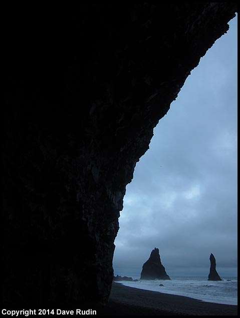The Reynisdrangar sea stacks off the coast of Vik