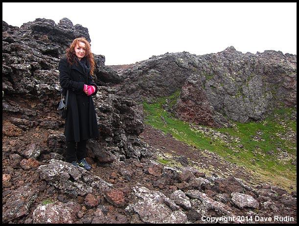 Volcano Girl! Zoe on the rim of Saxhóll Crater