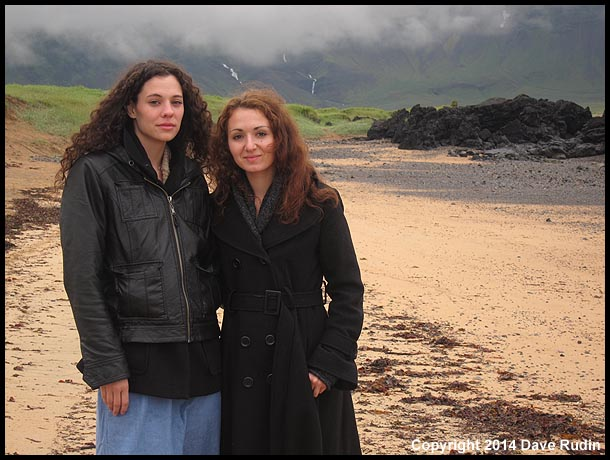 Nadine and Zoe on the beach at Búðir