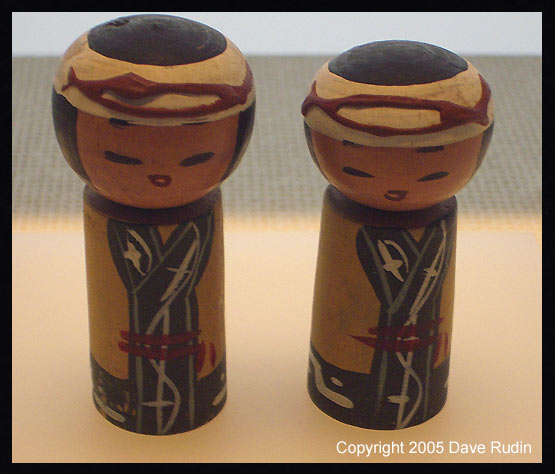 Miniature kokeshi dolls made by Sadako