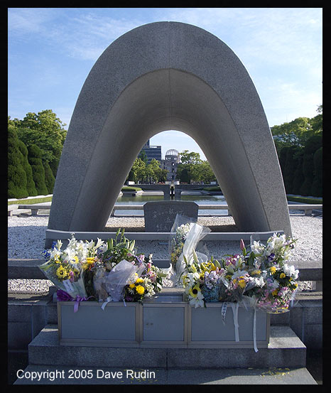 The Memorial Cenotaph, with a view toward the A-Bomb Dome