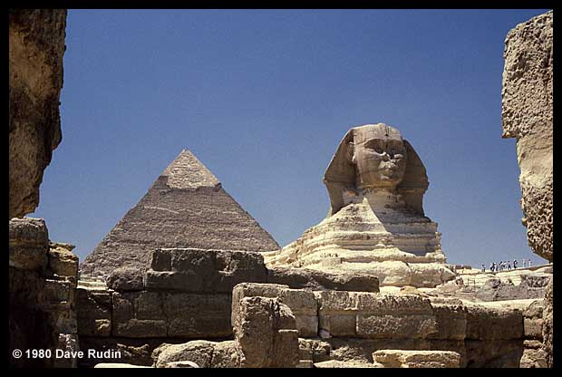 The Great Sphinx with the pyramid of Khafre, Giza, Egypt, 1980