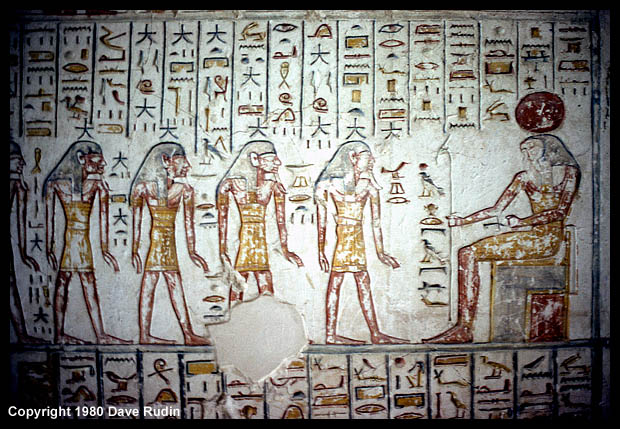 Carving and inscriptions in the tomb of Ramses VI, Thebes, Egypt, 1980